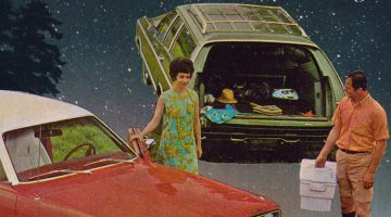Postcard collage of a man and woman in front of classic cars and a nighttime starscape