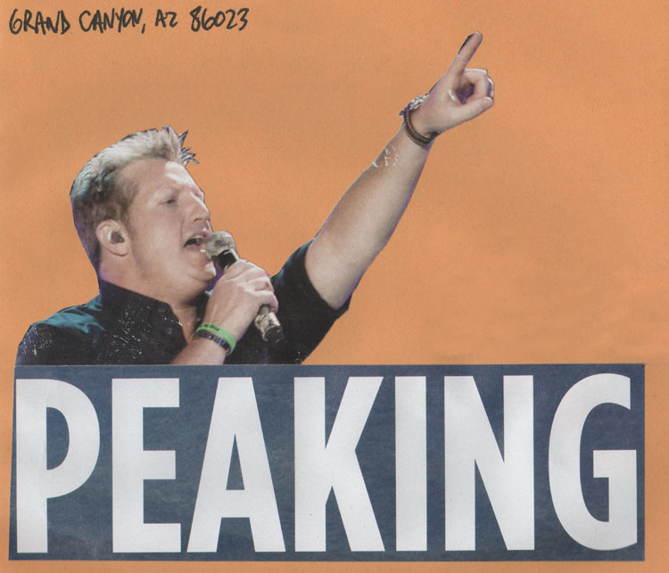 "A collage of a man holding a microphone and pointing upward, with text that says ""peaking"""