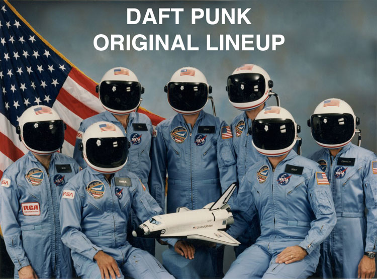 "A group of astronauts stand in front of an American flag. All of them are wearing helmets with the visor down. A caption above the group reads, ""Daft Punk: Original Lineup"""
