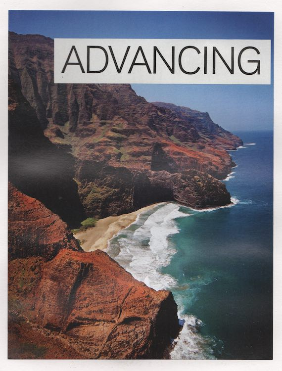 "A collage, the word ""ADVANCING"" is pasted over a photo of a dramatic tropical beach"