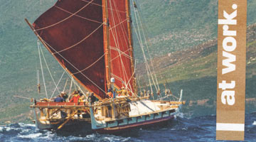 "Thumbnail image of sailing vessel in tropics with phrase ""at work"" next to it."