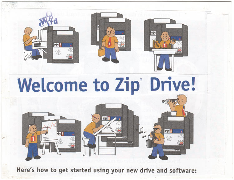 "A collage postcard of Zip Drive clipart and text that says ""Welcome to Zip Drive!"""