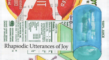"Cropped image of a colorful collage with text that says ""rhapsodic utterances of joy"""