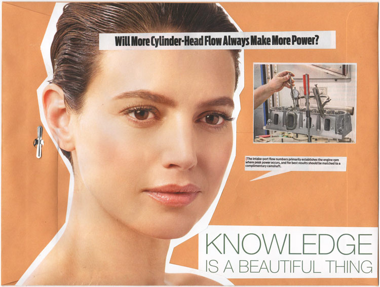"Collage of a woman's face with engine-building advice and text that says ""Knowledge is a beautiful thing"""