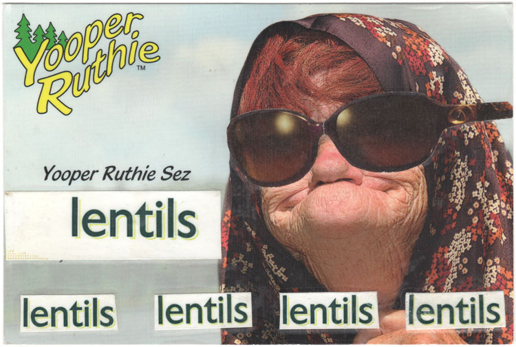 "A postcard collage of an old woman wearing sunglasses and saying ""lentils lentils lentils lentils lentils"""