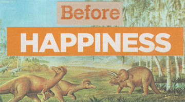 "Thumbnail image of postcard collage of dinosaurs and text that says ""before happiness"""