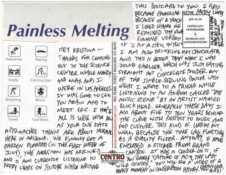 "Reverse side of a postcard, jammed with text, with a set of icons depicting various activities and cut-and-pasted text that says ""Painless Melting"""