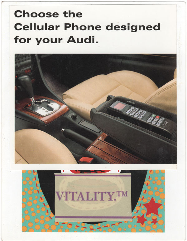 "A postcard collage with a photo of an old-school car phone in an Audi, a colorful design, and text that says ""Vitality"" below and ""Choose the cellular phone designed for your Audi"" above"