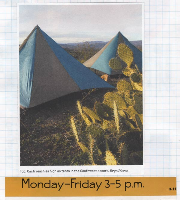 "A collage of two tents in the desert with cacti, and text that says ""Monday to Friday 3-5 pm"""