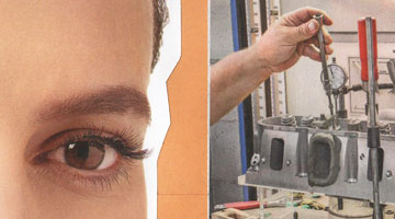 Close up of a collage of a woman's face and a man's hand testing an engine in front of a manilla background