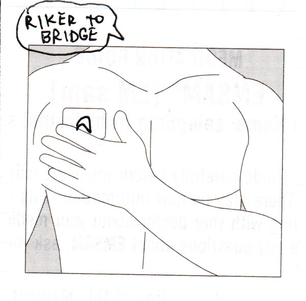 "Line drawing of a man slapping a patch on his chest, the patch has a Starfleet logo drawn on it and a speech bubble says ""Riker to Bridge"""