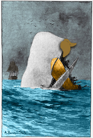 A colorized image of an old black-and-white illustration of Moby Dick eating a rowboat, except Moby Dick has a mustache