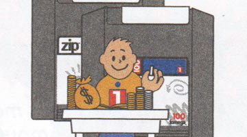 Close up of Zip Drive clip art - a little dude counts money in front of a giant Zip Drive, presumably representing finances and financial success