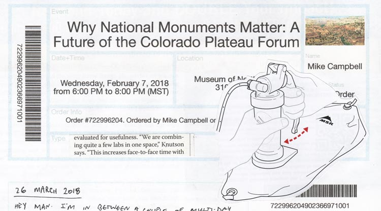 "Collage of a ticket to an event called ""Why monuments matter"" and a line drawing of a water filter pumping into a water bag"