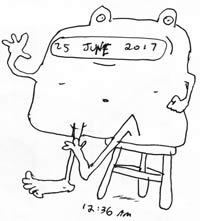 "A cartoon drawing of an amphibian sitting on a stool, with text that says ""25 June 2017"" and the time (12:34 am) below"
