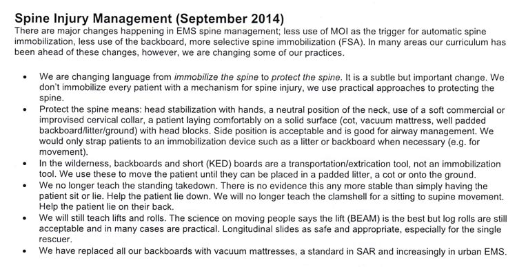 An image of spinal injury management practices updated in September 2014