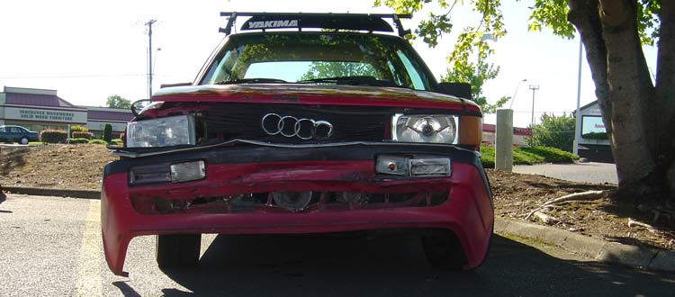 A crashed Audi quattro sport coupe