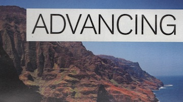"Thumbnail image of text ""advancing"" glued over Hawaiian island"