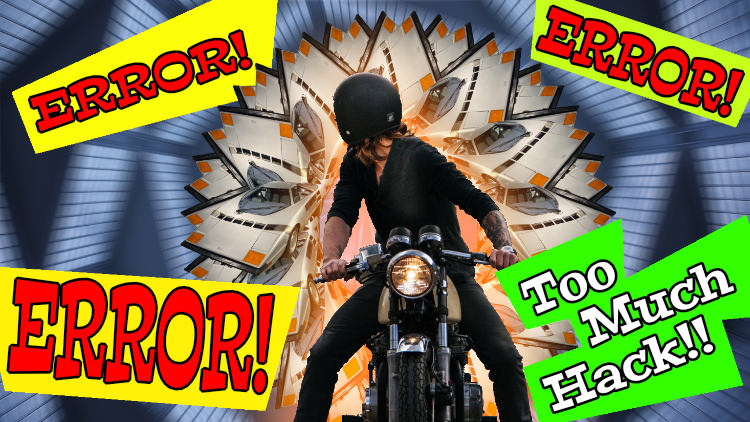 "A digital photo collage of a man on a motorcycle in front of a futuristic background with sleek old sports cars and text that says ""Error! Too much Hack!!"""