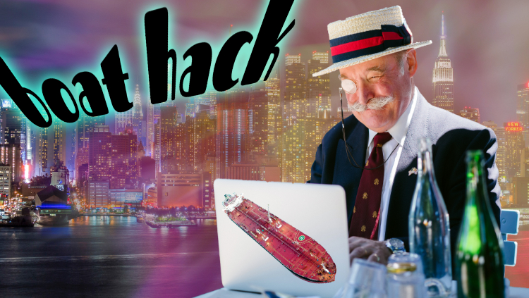 An old man with a monocle types on his laptop (which has a boat on it) in front of bright colors and a city skyline and the text