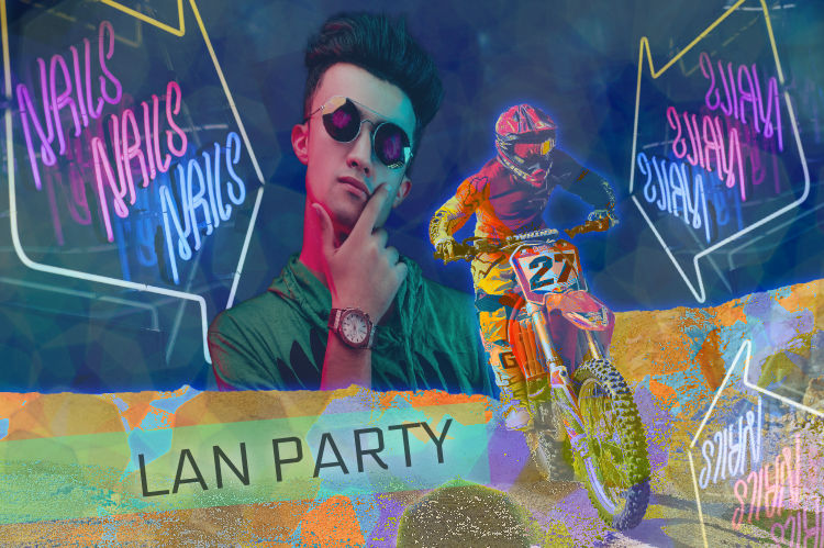 A digital photo collage with lot of bright pastel colors, a motorcyle, a neon sign, a thoughtful hacker, and text that says LAN PARTY